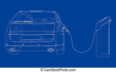 elektryczny, stacja, ładujący, pojazd, wektor, sketch.