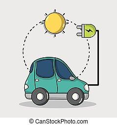 elektryczny wóz, energia, połączenie, słoneczny, technologia