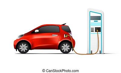 elektryczny wóz, stacja, cień, ładujący, czerwony