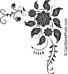 elem, helyett, tervezés, sarok, virág, vektor