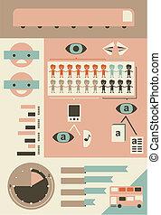 elemen, transporte público, infographic