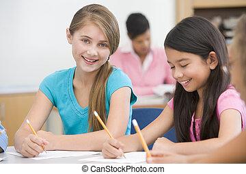 elementär, klassrum, skola, elever