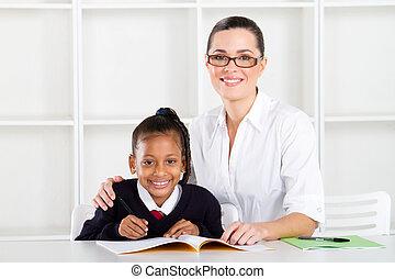elementär, lärare, student