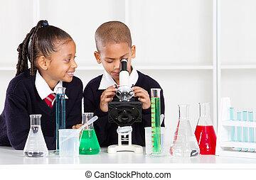 elementær skole, børn, ind, laboratorium.
