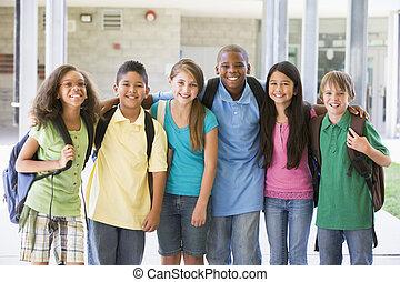 elementær skole, klasse, udenfor
