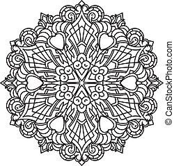 element., -, être, vecteur, décoratif, rond, dentelle, conception, boîte, noir, tension, ethnique, mandala, anti, therapy., utilisé, résumé