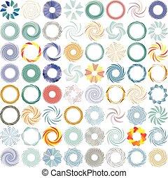 element., 回転, twist., 放射状, 渦, 抽象的, 旋風, 回転させなさい, design., らせん状に動きなさい, 円, イラスト, 回転, 波状, 同心である, curvy, ライン, ループ, pattern., 渦巻