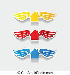element:, 房子, 建築物, 現實, 設計, 機翼