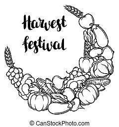 element., 蔬菜, 装饰, 季节性, 带子, 收获, 秋季, 描述, 水果
