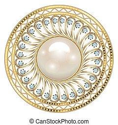 element., 装飾用, 幾何学的, 宝石類, ブローチ, デザイン, mandala, 型, バックグラウンド。