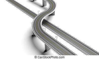 element, achtergrond, vrijstaand, snelweg, bypass, 3d, witte...