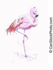 element., bird., vecteur, agréable, décoratif, freehand, ...
