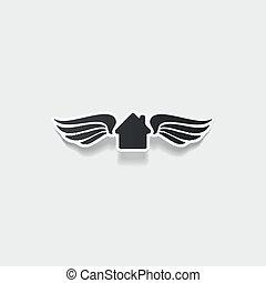 element:, casa, costruzione, realistico, disegno, ala