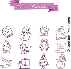 Element Christmas symbol set collection