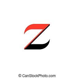 element, czarnoskóry, litera, logo, z, czerwony, ikona