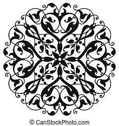 element., decorativo, zentangle, oriental, mandala, negro, ...