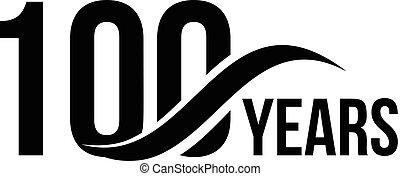 element., ditta, compleanno, disegno, years., uno, icona, astratto, vettore, segno., year., isolato, giubileo, data, affari, logotipo, anniversario, felice, sagoma, 100th, cento, 100