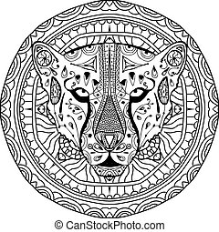 Element for your design. National ethnic circular pattern with the head of a Cheetah. Coloring page