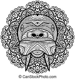 Element for your design. National ethnic circular pattern with the head of a walrus.