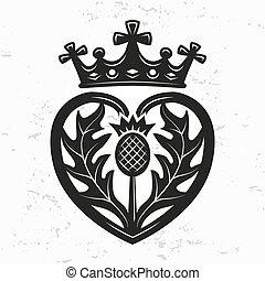 element., forme, conception, couronne, chardon, vecteur, ...