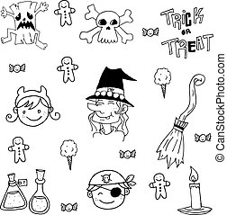Element halloween face and witch in doodle