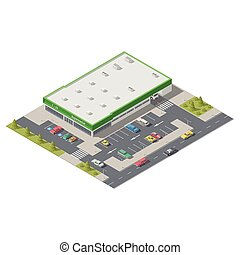 Element infographics representing a supermarket with parking located on a street