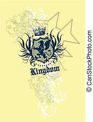 element, królewskość, herb, twój, etykieta
