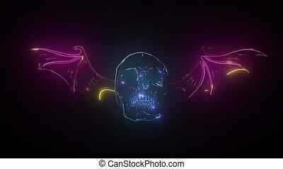 element., néon, retro, signe., noir, enseigne, prêt, ton, arrière-plan., design., conception, crâne