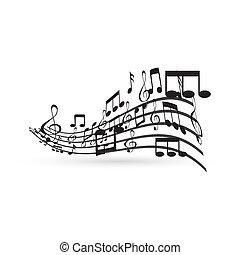 element, notatki, projektować, muzyka
