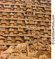 element of bas-relief  Temple Brihadishwara, India, Tamil Nadu, Thanjavour