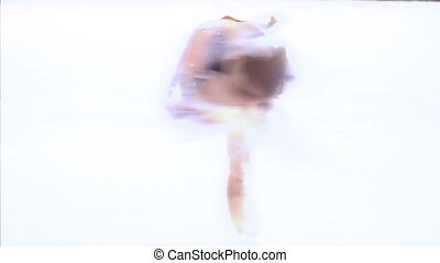"Little girl performs an element of figure skating ""Spinner"""