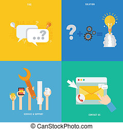 Element of service and support, solution, faq concept icon...