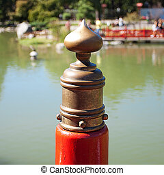 element of the red bridge in Japanese Garden