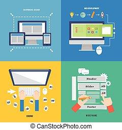 Element of web development concept icon in flat design