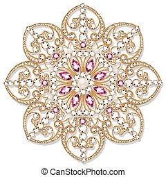 element., ornamentale, geometrico, gioielleria, spilla, ...