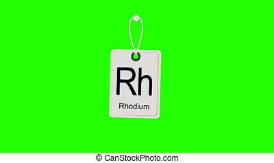 Element periodic chemical periodic table, swinging label. Chromakey.