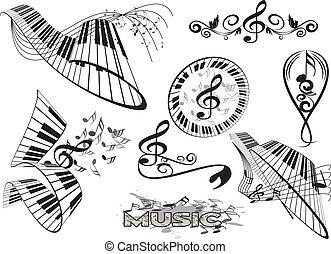 element, piano, blomstrede, klaviatur
