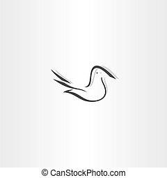 element, stylizowany, wektor, projektować, gołębica, ikona