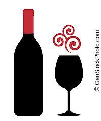 element, szkło, projektować, butelka, czerwone wino