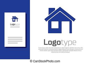 element., vecteur, bleu, maison, blanc, isolé, arrière-plan., symbole., maison, gabarit, logo, conception, icône