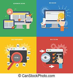 element, von, webentwicklung, begriff, ikone, in, wohnung, design