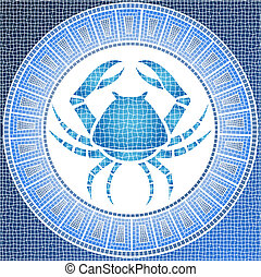 Element water: cancer zodiac sign on a mosaic, vector illustration