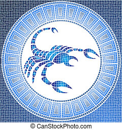 scorpio - Element water: scorpio zodiac sign on a mosaic,...