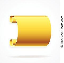 element, złoty, złoty, chorągiew, woluta, wektor