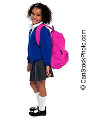 elementair, haired, schoolmeisjes, krullend