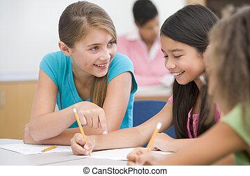 elementair, klaslokaal, school, leerlingen