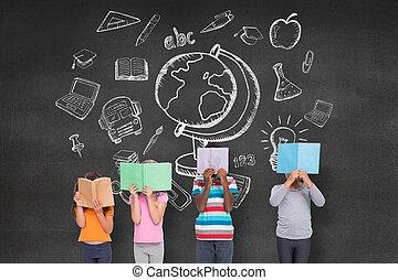 elementair, leerlingen, lezende