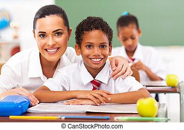 elementair, scholieren, de leraar van de school