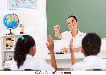 elementair, scholieren, leraar, roepende