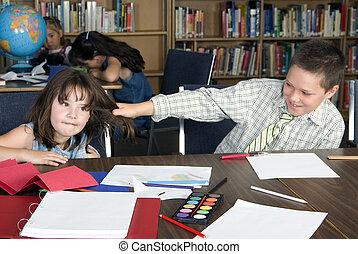 elementair, scholieren, school, studerend